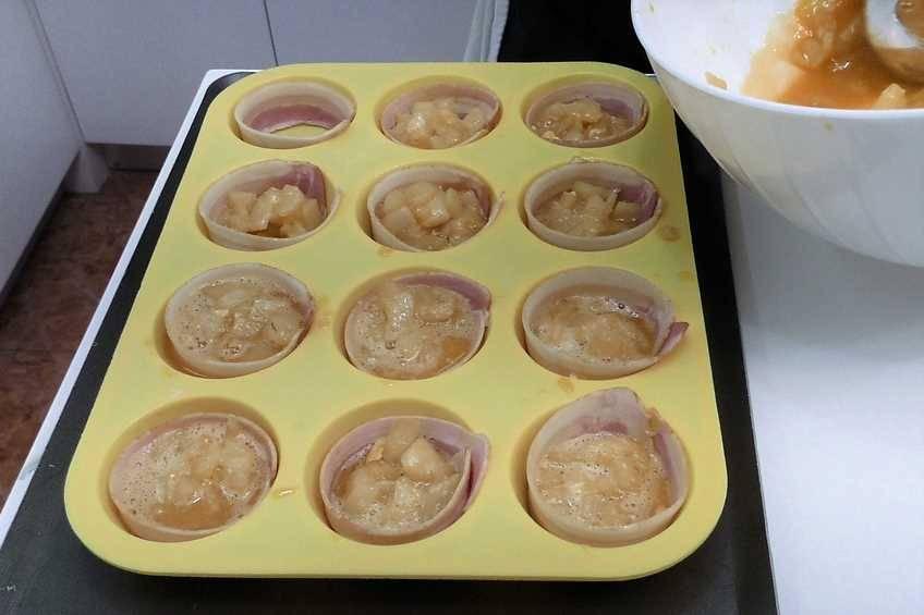 Paso 3 de Cupcakes de tortilla de patata y beicon