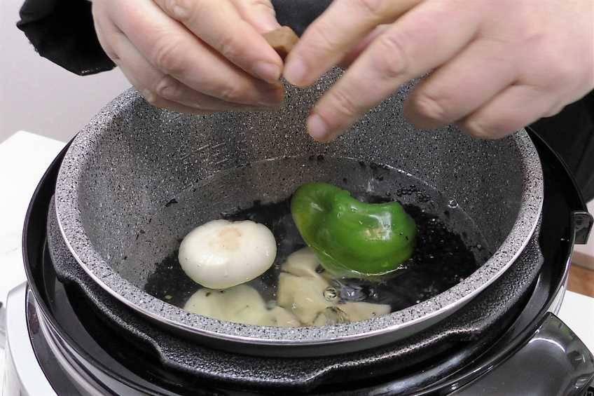 Paso 1 de Potaje de lentejas caviar con la Olla GM