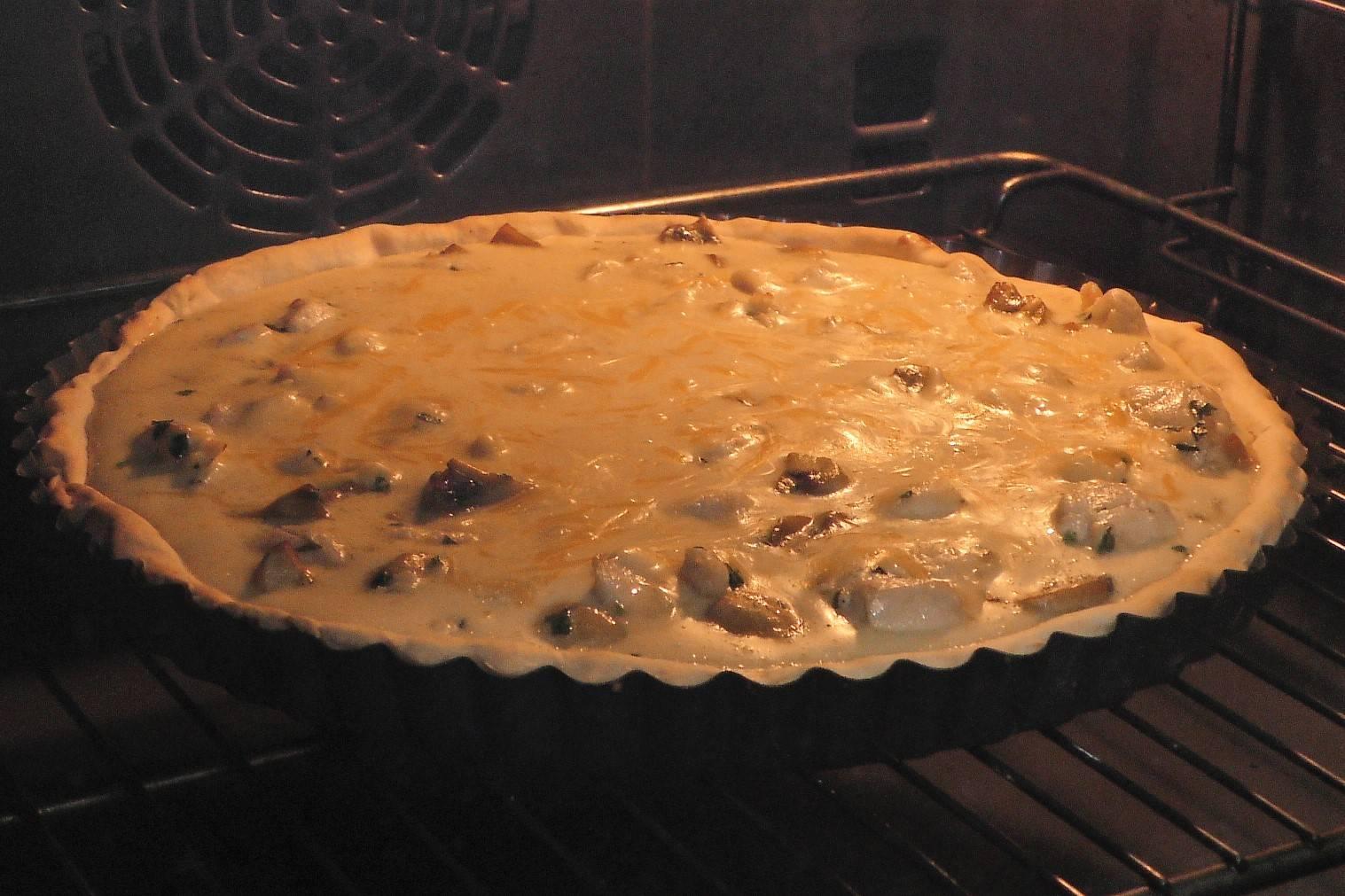 Paso 7 de Quiche de pollo y champiñones