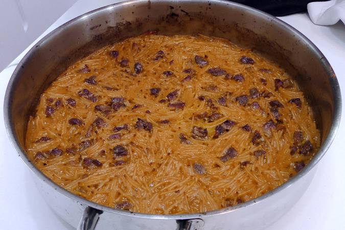 Paso 6 de Fideuá de cordero con caldo de verduras