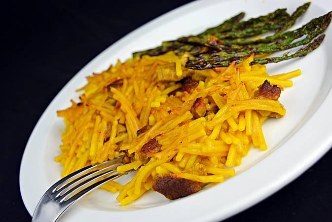 Paso 7 de Fideuá de cordero con caldo de verduras