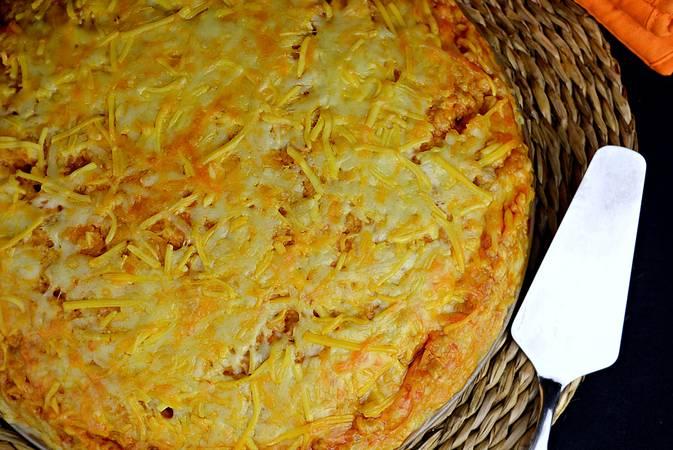 Paso 11 de Pastel de pollo y patata gratinado con 4 quesos