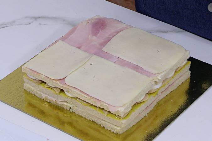 Segunda capa de jamón y queso