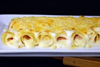 Lasaña de jamón y queso gratinada