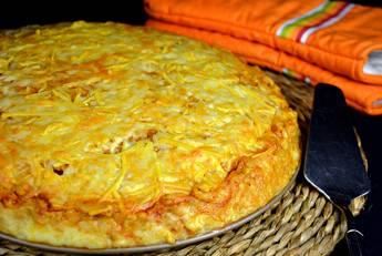 Pastel de pollo y patata gratinado con 4 quesos