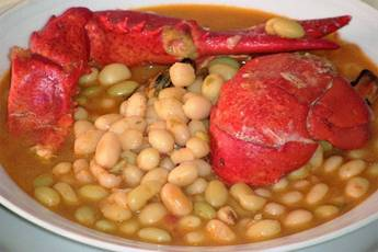 Pochas con bogavante, receta casera