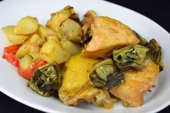 Pollo a la sidra con verduras