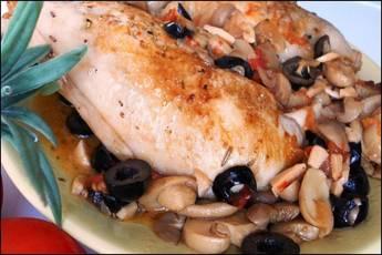 Receta de pollo con romero y aceitunas