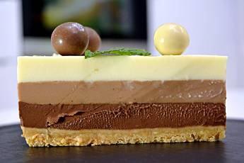 Tarta tres chocolates, receta de postre casero