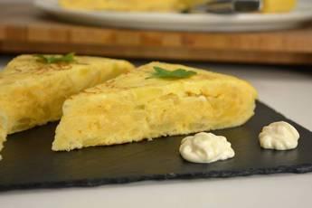 Tortilla de patata y calabacín con parmesano