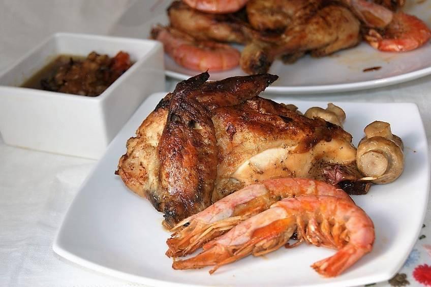 pollo asado con gambones tierra y mar On calorias del pollo asado con piel