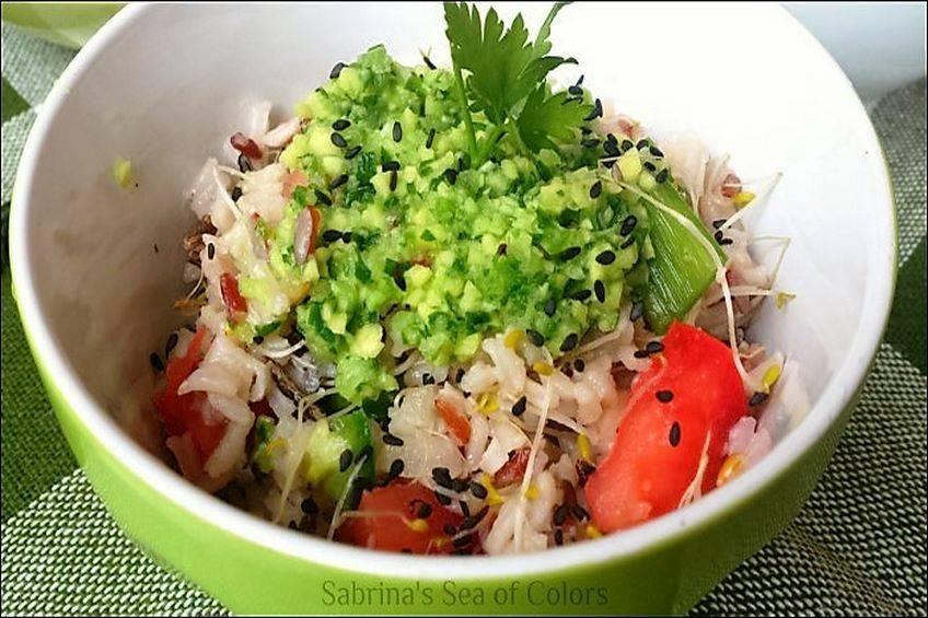 Ensalada de arroz salvaje y guasacaca