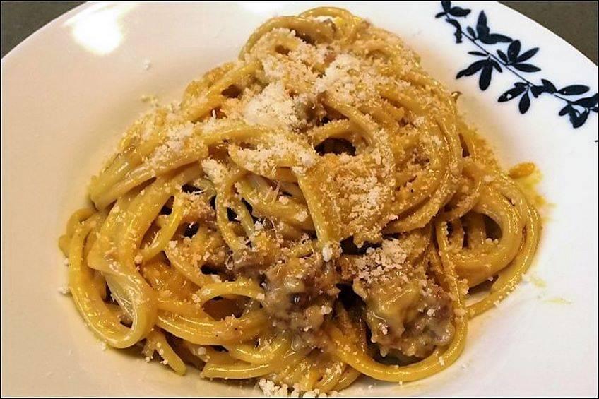 Espaguetis a la carbonara de castañas