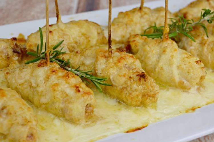 Pechugas rellenas y gratinadas con queso