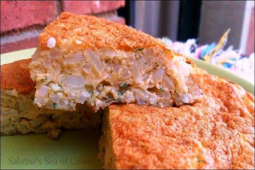 Tortilla de arroz y grana padano